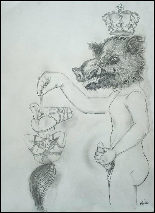 impuissance-nahili-balancetonporc-dessin-crayon-papier-artiste-strasbourg-sabgkier-shibarie-bondage-soumission-anthropomorphisme-femme-nu-homme-pouvoir-patriarcat